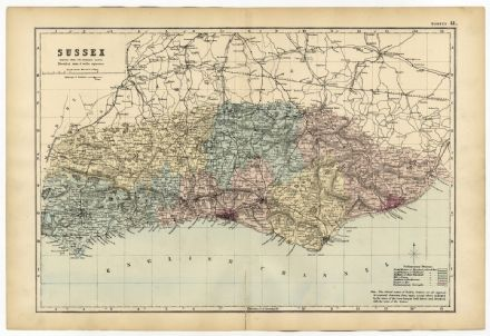 1891 Anitque Map SUSSEX County HOUSES Farms RAILWAYS Station VICTORIAN ORDNANCE SURVEY